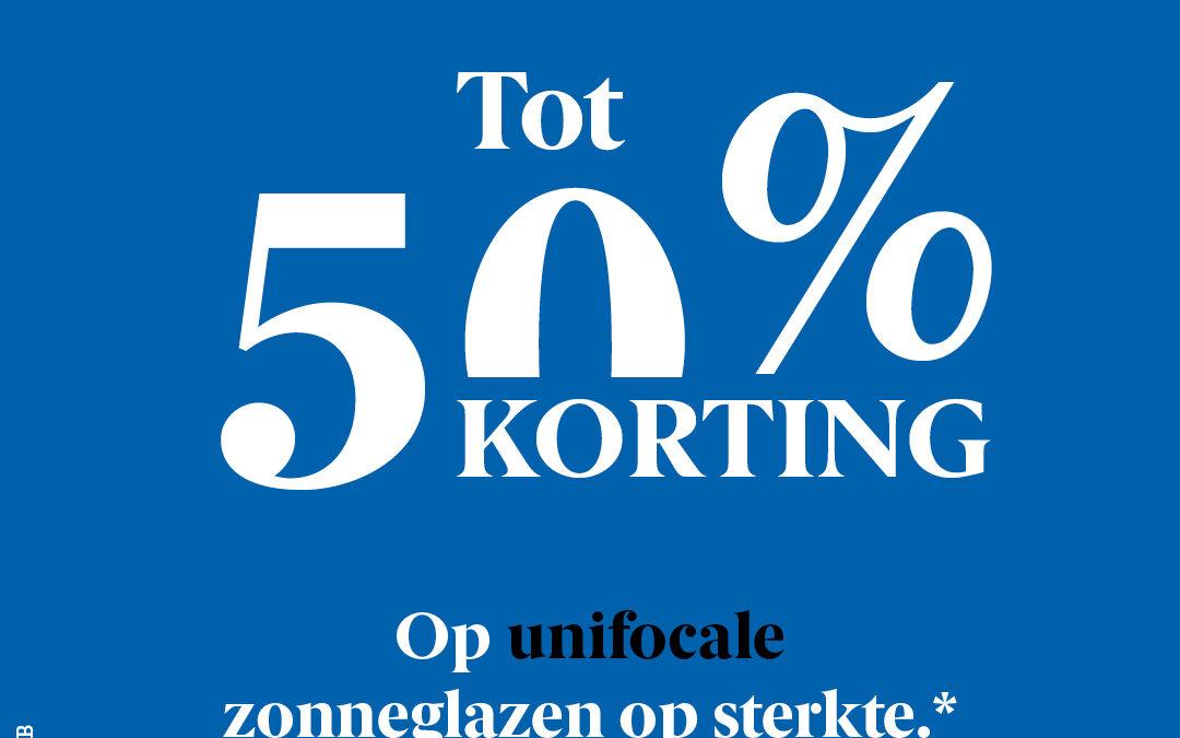 50% OP UNIFOCALE ZONNEGLAZEN*
